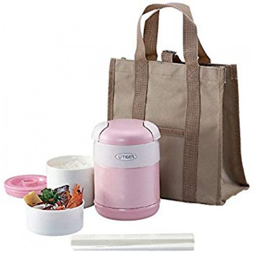 STAINLESS STEEL THERMAL LUNCH BOX (2 CONTAINER) PINK