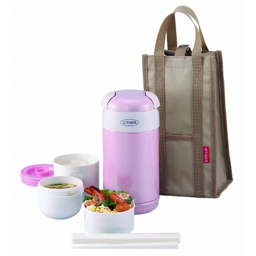 STAINLESS STEEL THERMAL LUNCH BOX (3 CONTAINER) PINK