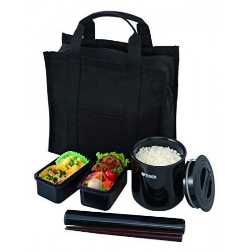 STAINLESS STEEL THERMAL LUNCH BOX (3 CONTAINER) BLACK