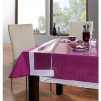 TABLE COVER TRANSPARENT WITH WHITE-LACED EDGES 60 X 108 inches